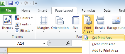 print selected area excel