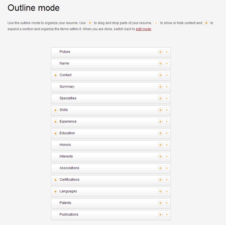 outline mode