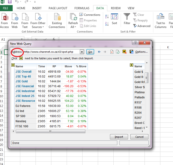 import online data in excel