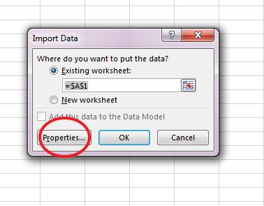 import online data in spreadsheet