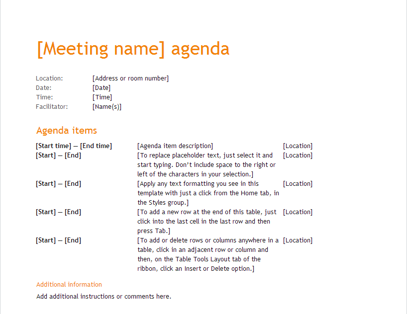 meeting name agenda