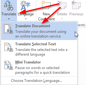 Translate PDF in MS Word