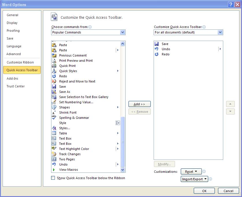 ms word toolbar