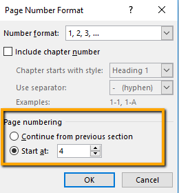 page numbering in word