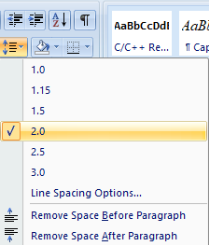 double space in word