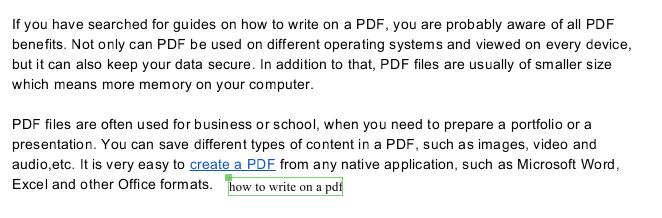 how to write on a pdf