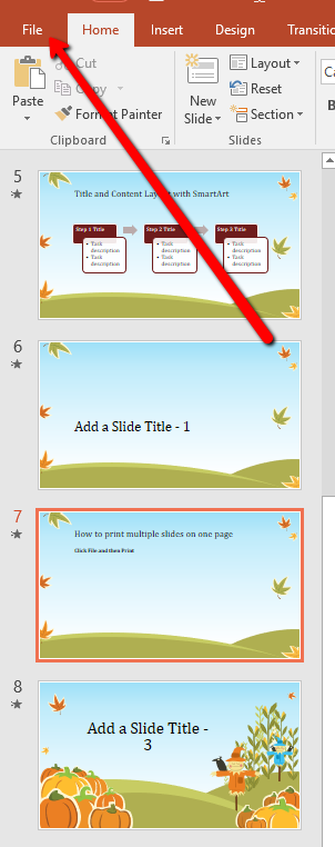 how to print multiple slides on one page