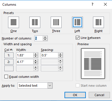 make columns in word