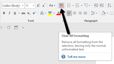 remove formatting in word