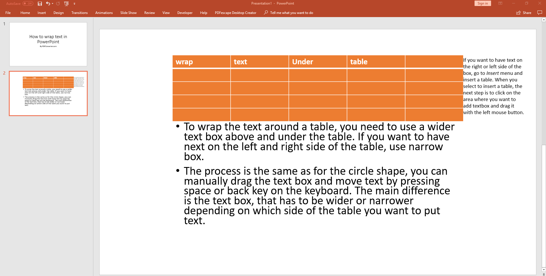how to wrap text around a table in powerpoint