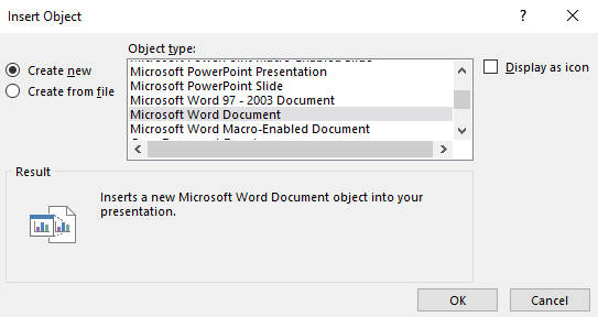 insert word in powerpoint