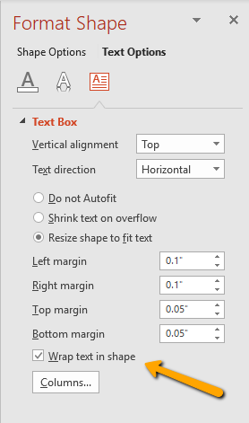 wrap text in powerpoint text box