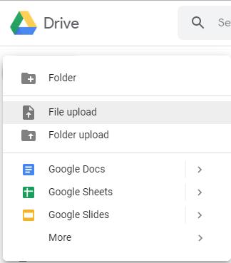 Google Docs file upload