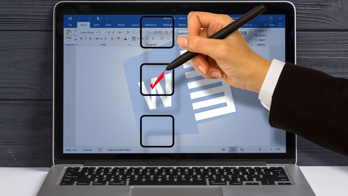 how to insert checkbox in word